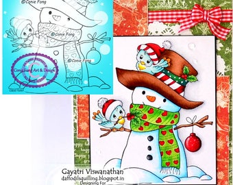Digital Stamp, Digi Stamp, digistamp,  Snowman and Birdie Friends by Conie Fong, Christmas, Winter, Bird, coloring page, children