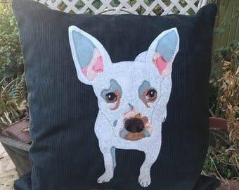 custom chihuahua portrait cushion, personalised pet pillow, dog portrait, pet memorial, personalised chihuahua pillow, chihuahua gift