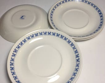 Vintage Blue White Figgjo Flint Norway Saucers - Norway Turi-Design - 7 Available