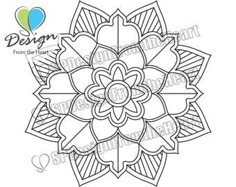 Simple Mandala Coloring Page #9, Printable Adult Coloring Page, Digital Download, Relaxation, Meditation, Peace