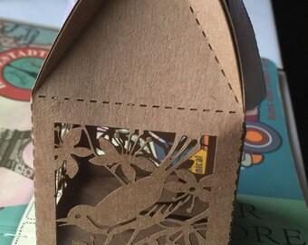 100pcs kraft Paper Laser Cut Wedding Favor Macaron Favor Kraft Paper Song Bird Wedding Favor Box and (2) French Macaroon,Candy Packaging Box