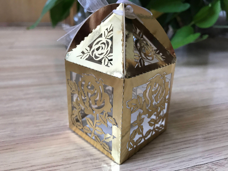 100pcs Metallic Paper Gold Wedding Bridal Favor Boxeschristening