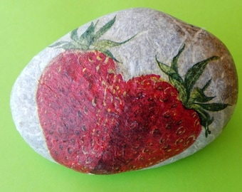 Stone PAPERWEIGHT with Strawberry motif decoupage