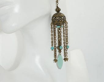 Oriental earrings, antique bronze, enamel and turquoise sequin, designer jewelry