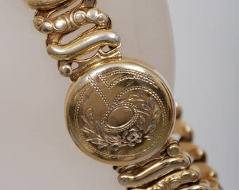 American Queen Sweetheart Expansion Bracelet, marked Jewel Guild, Sterling Base, gold over circa 1940's