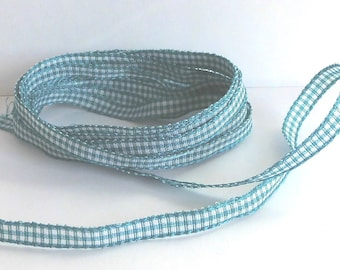 Ribbon appearance gingham cyan and white - 6mm wide - sold by 50cm