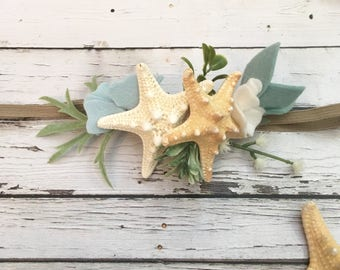 Mermaid headband, mermaid crown, mermaid baby headband, Baby Mermaid Photo prop, Mermaid flower crown Mermaid baby outfit, starfish headband