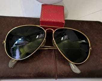 ON SALE Vintage B and L Ray Ban Aviator Sunglasses
