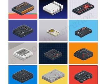 """Classic Consoles Pixel Art Print 12"""""""