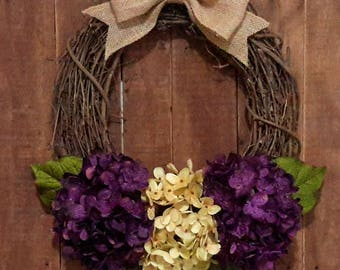 Everyday Wreath, Hydrangea Wreath, Housewarming Wreath, Mother's Day Wreath, Summer Wreath, Fall Wreath