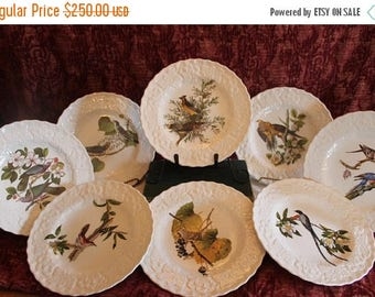 """SALE Set of 8 Alfred Meakin Birds of America 9"""" Plates - Endorsed by National Audubon Society New York"""