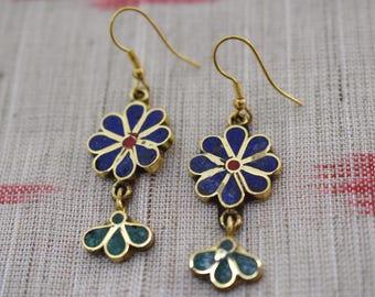 Flower Boho Earrings, Dangling Earrings, Floral Jewelry, Gold Brass, Hook Earrings, Boho, Tribal, Free Spirit, Festival
