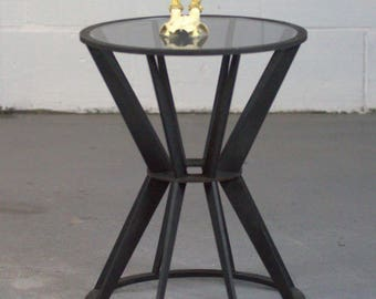 Large Drum Table Side Table Round Small Table with Glass Insert.