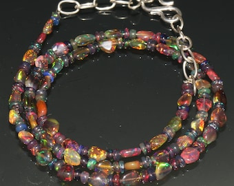 "23 Carats 3.5x4.5 to 4x6 16"" Ethiopian Fire Opal Black Tumble With Roundel Beads Necklace 8015"