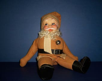 Reserved For Lisa...Vintage Santa,  1940's Christmas, Handmade Santa Doll, Primitive Santa