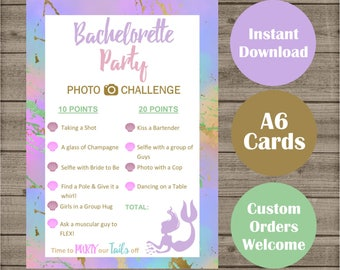 Pastel Mermaid Bachelorette Party Photo Challenge Game Cards - Hen Parties Bridal Shower - Hen's Night Bridesmaids Scavenger Hunt