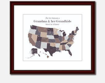Grandma Map Unique Long Distance Gift 2 Map Art Two Map Print Personalized State Country Distance Present Birthday