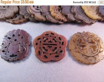 ON SALE 15% OFF Carved Nephrite Jade Mixed Shapes Pendants 3pcs