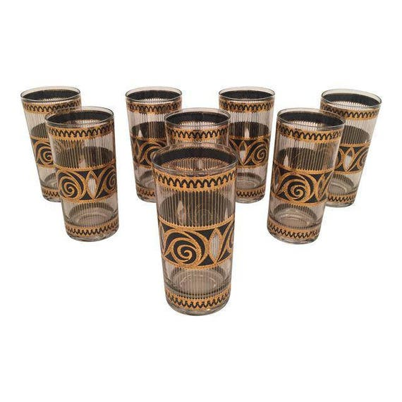 """Mid-Century 22K Gold & Black Highball drinking glasses from """"Culver"""" company"""