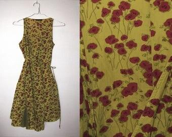 90s Vintage IKKS Chartreuse Green Floral Wrap Dress