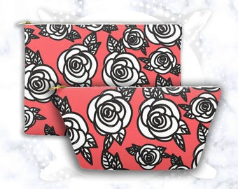 Rose Accessory Pouch | Abstract Design | Floral Cosmetic Bag | Pencil Case | Toiletry Bag | Zippered Clutch | Red | Makeup Storage | Flowers