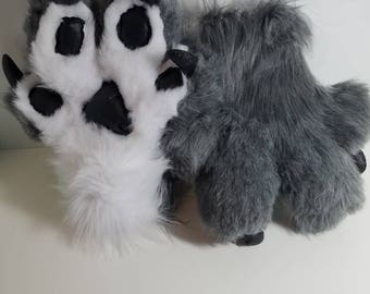 Pre-made grey puffy paws