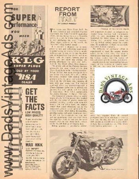 1965 Moto Guzzi Falcone Big Hawk Motorcycle 1-Page Article #d65ba19