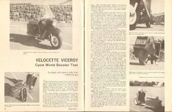 1962 Velocette Viceroy Scooter Road Test 2-Page Photo Article #ncd06