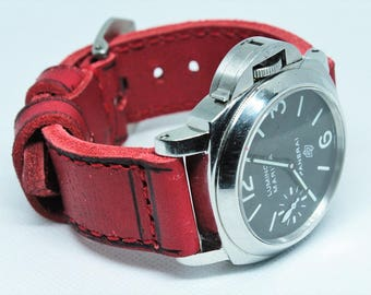 Red strap in vintage style 24/24  130/80 approx for Panerai watch