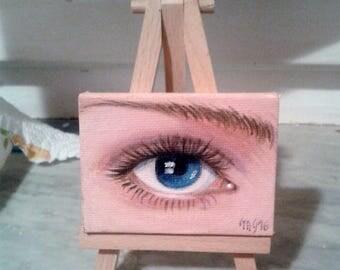 eye # 2 acrylic on canvas with mini tripod