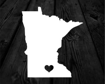 Minnesota State with Heart Over Home Town Decal   Heart City State Decal   Any City Heart Decal   Car Sticker   Preppy Decal   216