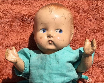 """Sweet Antique Composition Baby Doll 9-1/2"""" c. 1930's"""