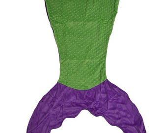 Mermaid blanket, children's mermaid tail blanket, mermaid tail, minky blanket, fleece blanket, girls mermaid blanket, purple mermaid blanket
