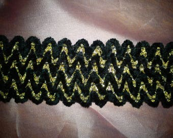stunning black and gold elastic Ribbon very beautiful quality for this model dress Hat decoration or other