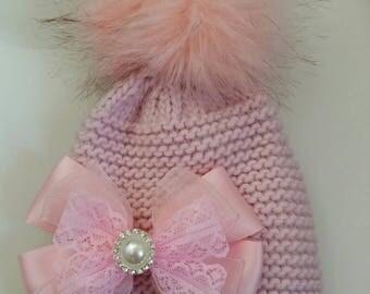 Costumised baby pom pom hat pink pom pom hat