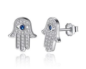 Genuine 925 Sterling Silver Hand Of Fatima & Evil Eye Hamsa Stud Earrings