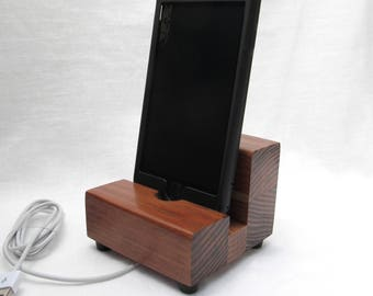 Wood iphone dock, redwood dock, cell phone stand, charging stand, iphone stand, wood charging dock, iphone 6 charger, samsung dock.