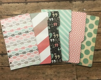 PERSONAL Size Dashboard & Dividers - Double Sided - for Filofax, Kikki K, Franklin Covey, Day Planner, Gillio, etc