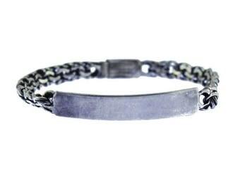 Vintage Sterling Silver ID Bracelet, Heavy Sterling Silver Bracelet, Sterling Silver Chain Bracelet, Sterling Silver Men's Bracelet