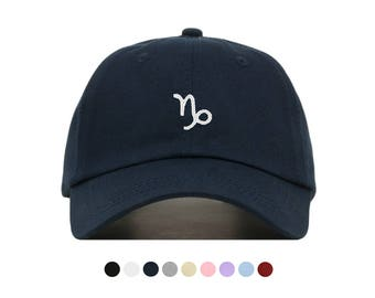 Capricorn Zodiac Embroidered Dad Cap, Unstructured Low-Profile Baseball Hat, Adjustable Strap Back, One Size (Multiple Colors)
