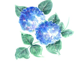 Original watercolor blue hydrangeas. Not a print. Hand painted. fits standard 5 x 7 frame.
