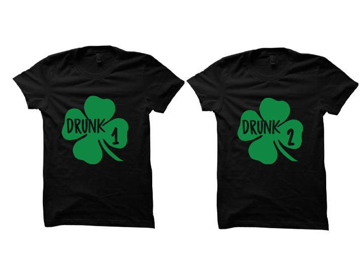55d3b8f33 St. Patty's Day Couples Shirts [BLACK] Pair of Shamrocks Cute Couples Gifts St  Patricks Day Tee Ladies Fashion Mens Shirts Parade Shirts