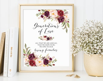Generations of Love, Wedding Sign, All That We Are And Hope To Be We Owe To Our Parents, Family Thank You Sign, Ceremony Signs, Marsala