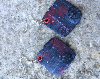 grey and black polymer earrings