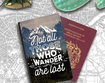 Not All Those Who Wander Are Lost Tolkien Passport Holder Travel Flip Cover Case PT016