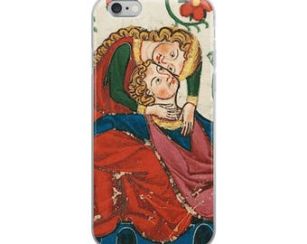 Medieval lovers iPhone case, happy, loving, romantic Middle Ages couple from illuminated manuscript