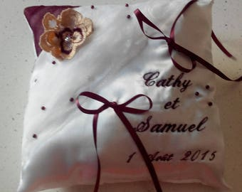 custom personalized embroidered ring bearer pillow