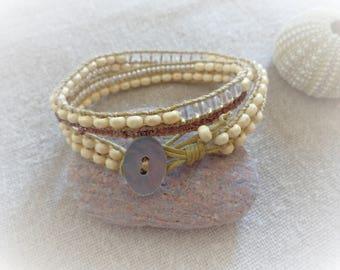 Bracelet wrap bracelet beige bracelet 2 turns bracelet trendy boho chic bracelet