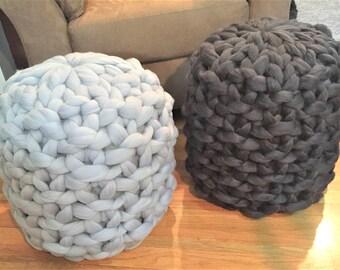Merino Wool Ottoman, Chunky Knit Ottoman, Knitted Pouf,  Floor Stool, Floor pillow