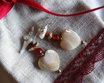 Heart Earrings in Pearl and carnelian